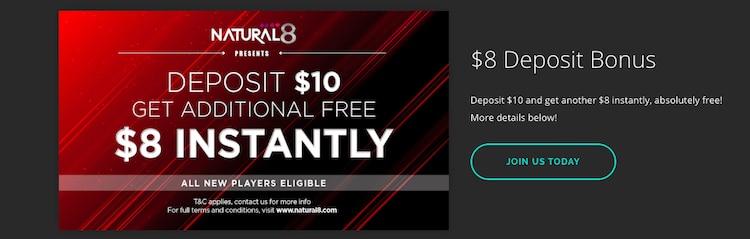 Natural8-$8ボーナス