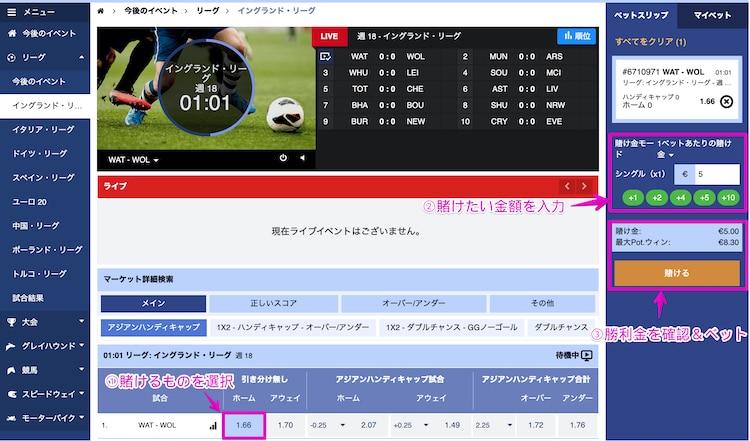 スポーツベットアイオー-バーチャルスポーツ-賭け方②