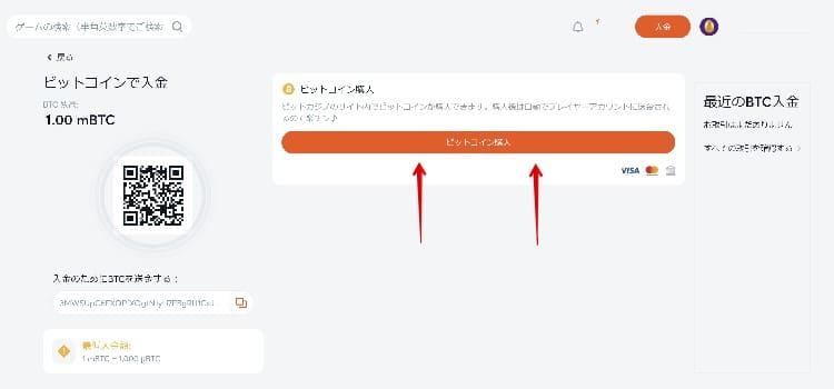 ビットカジノ - 入金ガイド3
