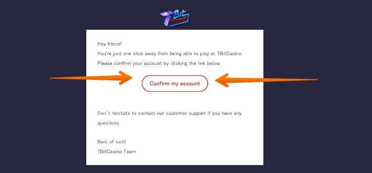 7bitcasino - 新規登録ステップ3