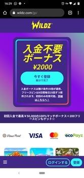 Wildz casino - 登録ステップ1