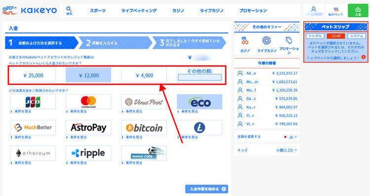 ビットコイン - 入金例ステップ2