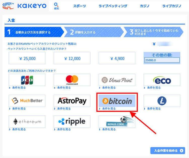 ビットコイン - 入金例ステップ3